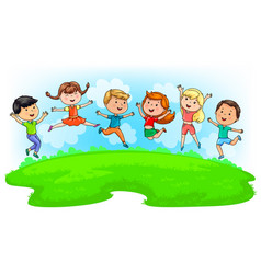 Cute kids jumping on green meadow and blue sky vector