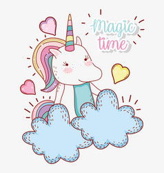 Cute unicorn animal with hearts in the clouds vector