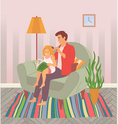 dad and daughter spend time together a father is vector image