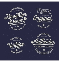 Denim typography t-shirt design set vector