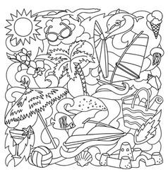 Doodle summer beach vector