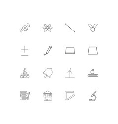 education and science simple linear icons set vector image
