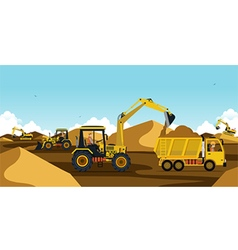 Excavators are working vector image