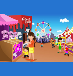 Family playing in an amusement park vector