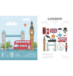 flat travel to london concept vector image