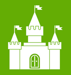 Fortress icon green vector