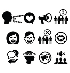 Freedom of speech human rights icons set vector