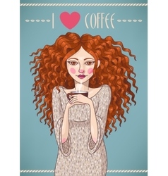 Girl with coffee vector image