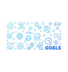 Goals outline blue banner on white vector