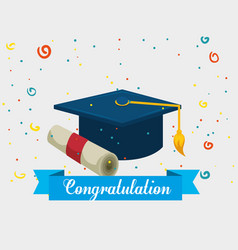 Graduation hat with diploma vector