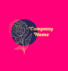 Hand drawn peony flower logo vector