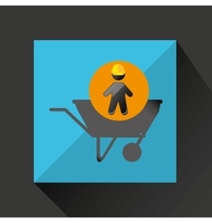 Head silhouette wheelbarrow icon vector