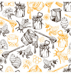 Honey bee seamless pattern sketch hand drawn vector