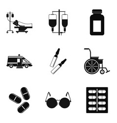 Hurt icons set simple style vector