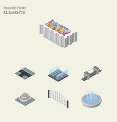 Isometric architecture set of fountain highway vector