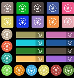 Japanese Yuan icon sign Set from twenty seven vector