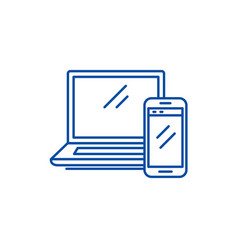 laptop and smartphone line icon concept laptop vector image