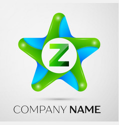 Letter z logo symbol in the colorful star on grey vector