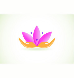 Lotus flower with abstract hands vector