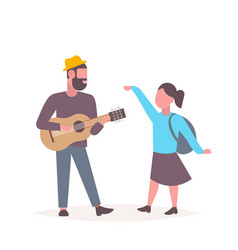 man musician singing and playing guitar woman vector image