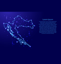 Map croatia from the contours network blue vector