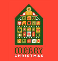 Merry christmas vintage folk advent calendar vector