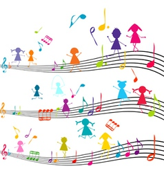 Music note with kids vector image