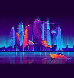 Night city futuristic landscape background vector