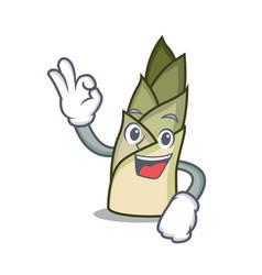 Okay bamboo shoot character cartoon vector