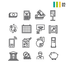 outline finance icons vector image