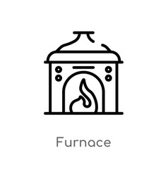 Outline furnace icon isolated black simple line vector