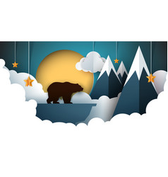paper origami landscape mountain bear animals vector image