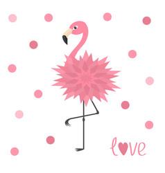 Pink flamingo standing on one leg flower body vector