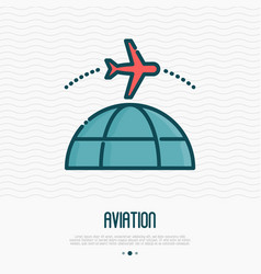 plane flying around globe thin line icon vector image