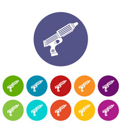 plastic gun toy icons set flat vector image