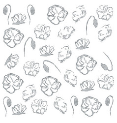 poppies floral grey pattern on vector image
