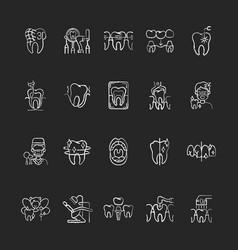 Professional stomatology chalk white icons set on vector