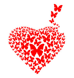 red heart made with flying butterflies vector image