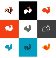 Rooster and cock Flat style set of cons and logos vector