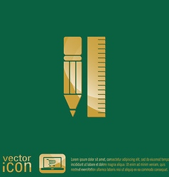 ruler and pencil characters geometry vector image