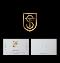S t letters shield gold lines shield business card vector