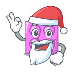 Santa toy brick mascot cartoon vector