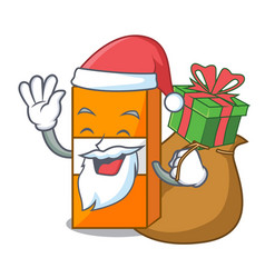 santa with gift package juice mascot cartoon vector image