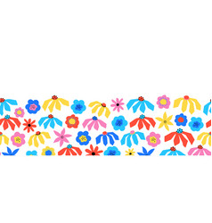 seamless flower border red blue yellow pink vector image