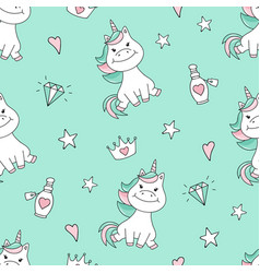Seamless pattern with magical unicorn and stars vector