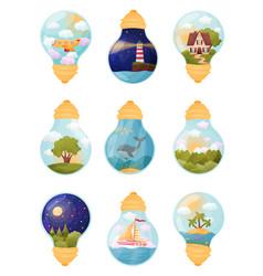 Set images inside bulb vector