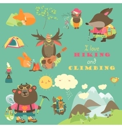 Set of cartoon characters and mountaineering vector image