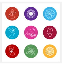 Set of Colorful Round Linear Style Icons vector