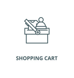 shopping cart wtih clothes line icon vector image