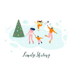 Skating with family on ice rink concept vector
